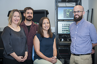Dr Kelly Rogers, Dr Lachlan Whitehead, Dr Kate McArthur and Dr Niall Geoghegan with the lattice light-sheet microscope.
