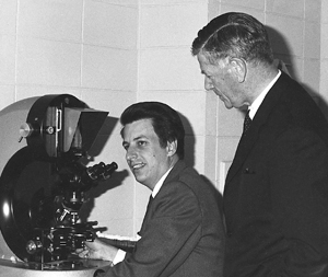Burnet and Nossal at the microscope